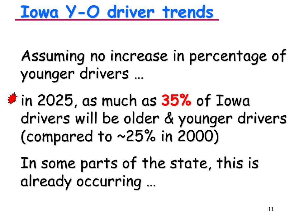 11 Assuming no increase in percentage of younger drivers … in 2025, as much as 35% of Iowa drivers will be older & younger drivers (compared to ~25% in 2000) In some parts of the state, this is already occurring … Iowa Y-O driver trends