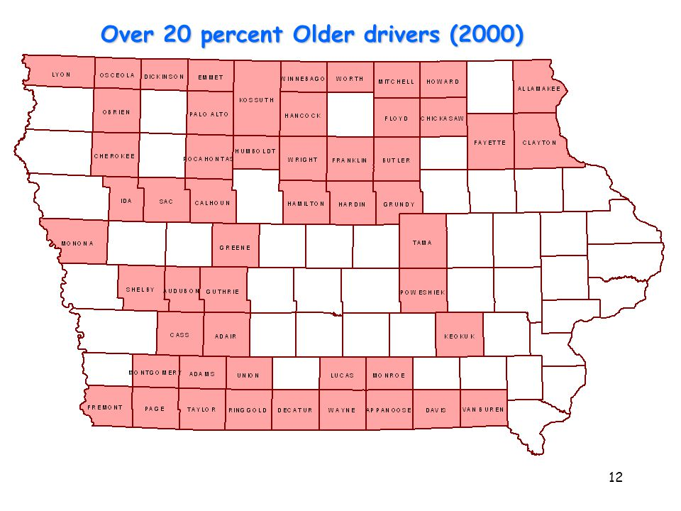 12 53 counties have 20% or higher Over 20 percent Older drivers (2000)