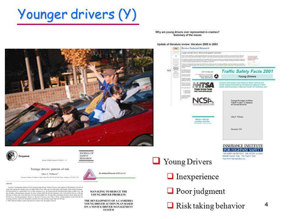4 Younger drivers (Y)  Young Drivers  Inexperience  Poor judgment  Risk taking behavior