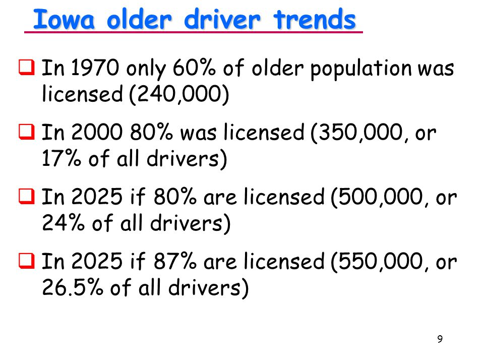 9 Iowa older driver trends   In 1970 only 60% of older population was licensed (240,000)   In 2000 80% was licensed (350,000, or 17% of all drivers)   In 2025 if 80% are licensed (500,000, or 24% of all drivers)   In 2025 if 87% are licensed (550,000, or 26.5% of all drivers)