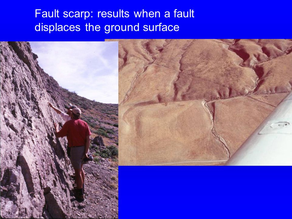 Fault scarp: results when a fault displaces the ground surface