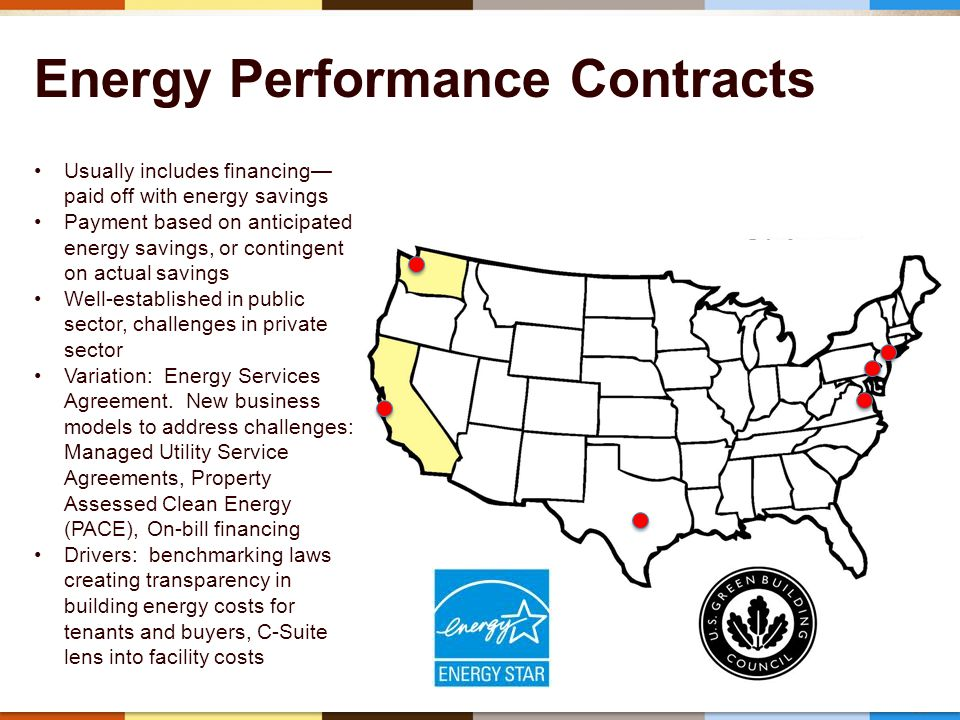 39 Energy Performance Contracts Usually includes financing— paid off with energy savings Payment based on anticipated energy savings, or contingent on actual savings Well-established in public sector, challenges in private sector Variation: Energy Services Agreement.