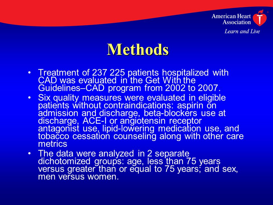 Methods Treatment of 237 225 patients hospitalized with CAD was evaluated in the Get With the Guidelines–CAD program from 2002 to 2007.