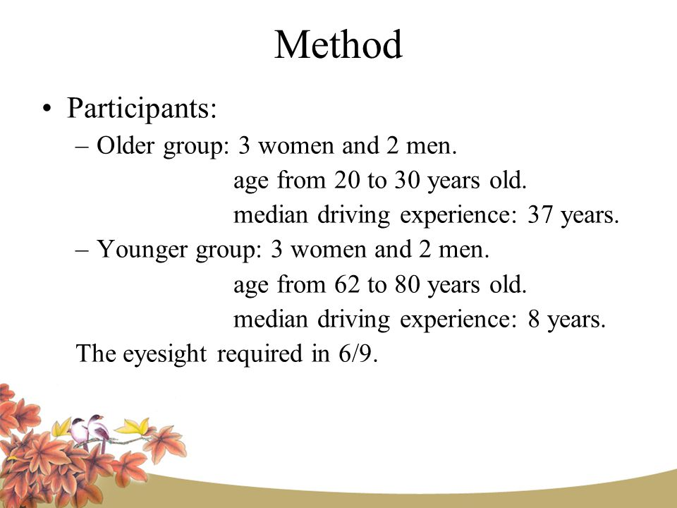 Method Participants: –Older group: 3 women and 2 men.