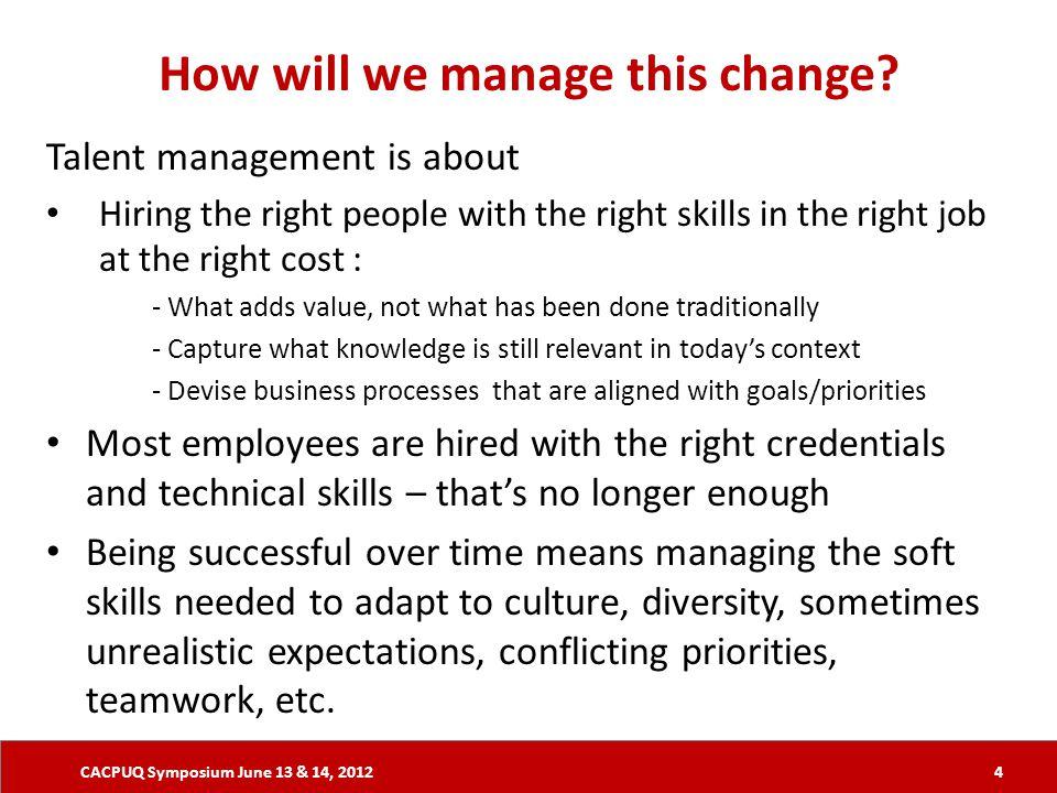 CACPUQ Symposium June 13 & 14, 2012 How will we manage this change.