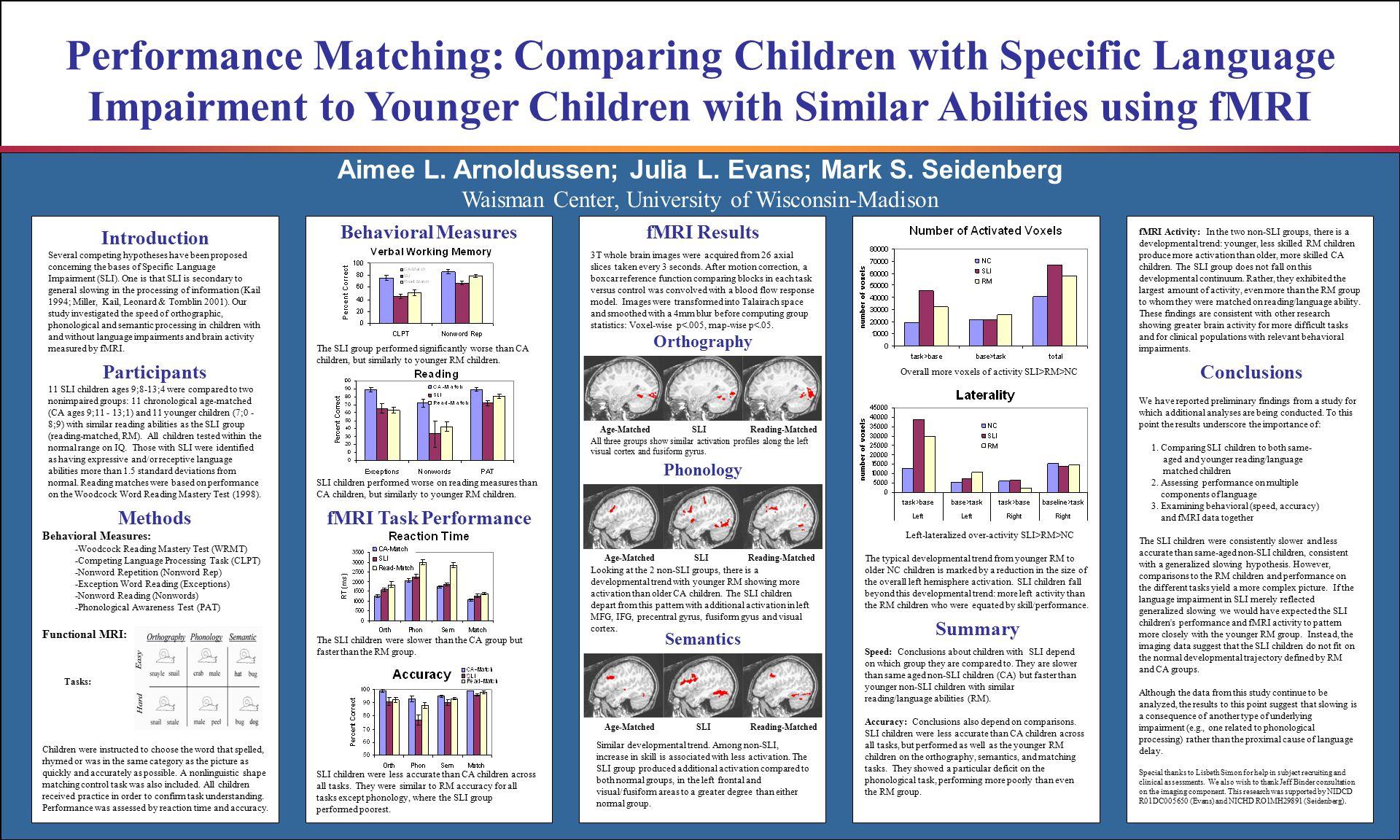 Aimee L. Arnoldussen; Julia L. Evans; Mark S. Seidenberg Performance Matching: Comparing Children with Specific Language Impairment to Younger Childre