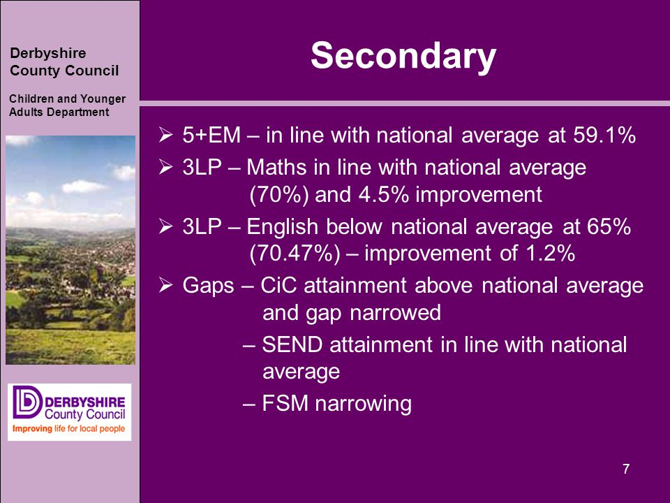 Derbyshire County Council Children and Younger Adults Department Secondary  5+EM – in line with national average at 59.1%  3LP – Maths in line with national average (70%) and 4.5% improvement  3LP – English below national average at 65% (70.47%) – improvement of 1.2%  Gaps – CiC attainment above national average and gap narrowed – SEND attainment in line with national average – FSM narrowing 7