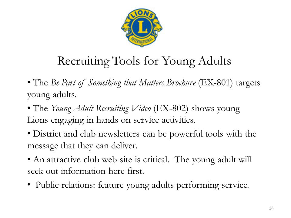 The Be Part of Something that Matters Brochure (EX-801) targets young adults.