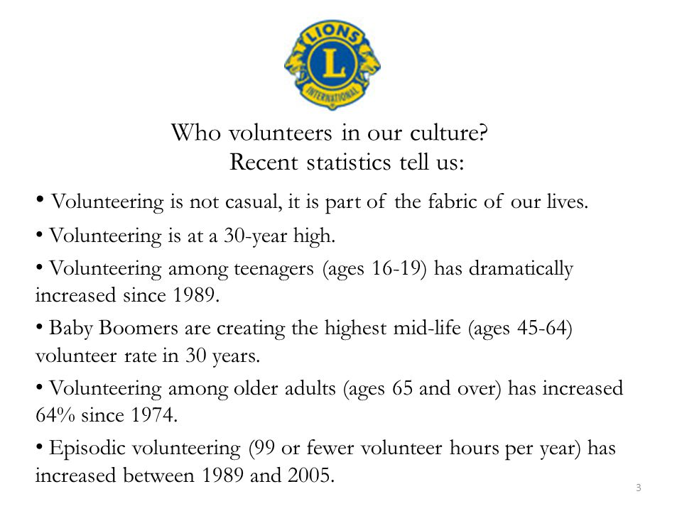 Recent statistics tell us: Volunteering is not casual, it is part of the fabric of our lives. Volunteering is at a 30-year high. Volunteering among te