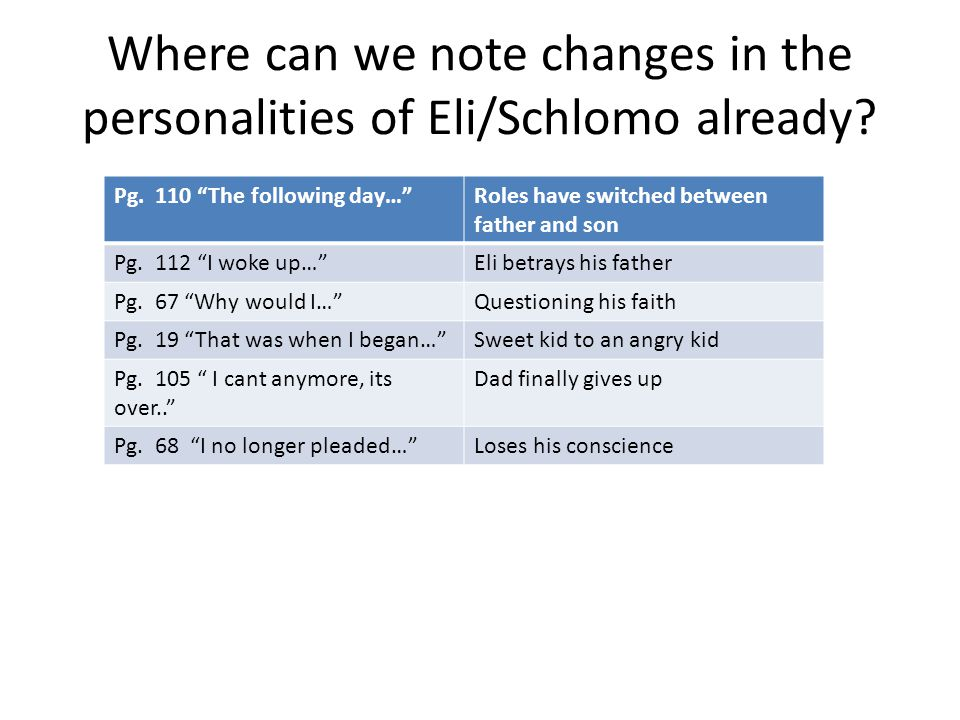 """Where can we note changes in the personalities of Eli/Schlomo already? Pg. 110 """"The following day…""""Roles have switched between father and son Pg. 112"""
