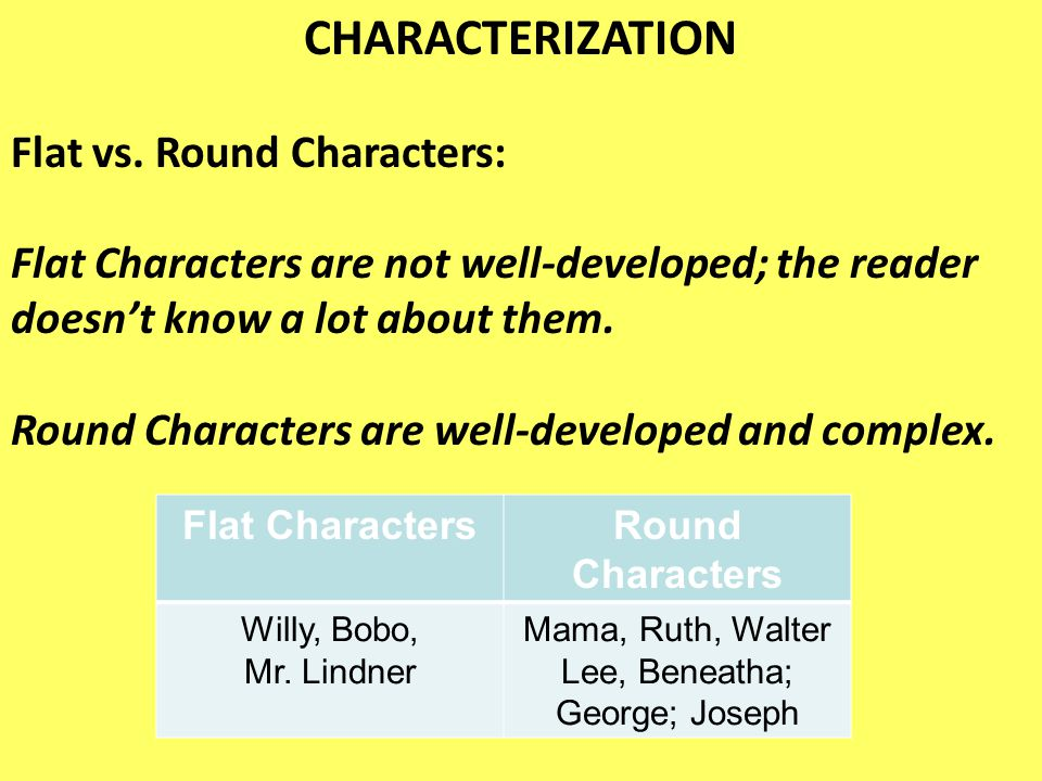 CHARACTERIZATION Flat vs. Round Characters: Flat Characters are not well-developed; the reader doesn't know a lot about them. Round Characters are wel