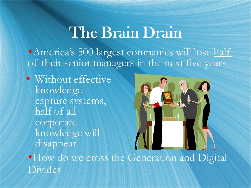 The Brain Drain  Without effective knowledge- capture systems, half of all corporate knowledge will disappear  America's 500 largest companies will lose half of their senior managers in the next five years  How do we cross the Generation and Digital Divides