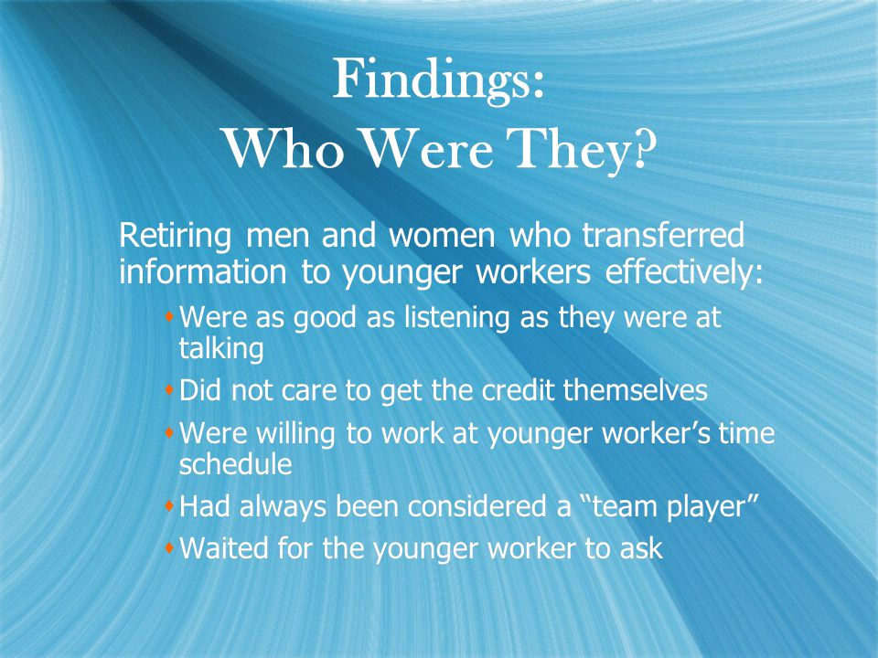Findings: Who Were They.