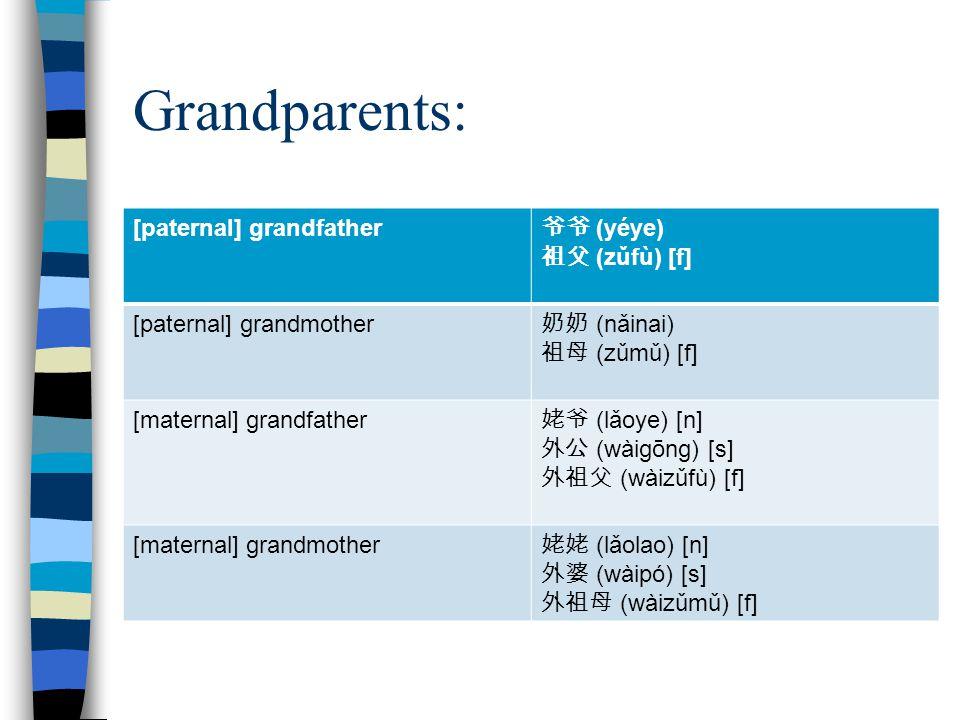 Grandparents: [paternal] grandfather 爷爷 (yéye) 祖父 (zǔfù) [f] [paternal] grandmother 奶奶 (nǎinai) 祖母 (zǔmǔ) [f] [maternal] grandfather 姥爷 (lǎoye) [n] 外公