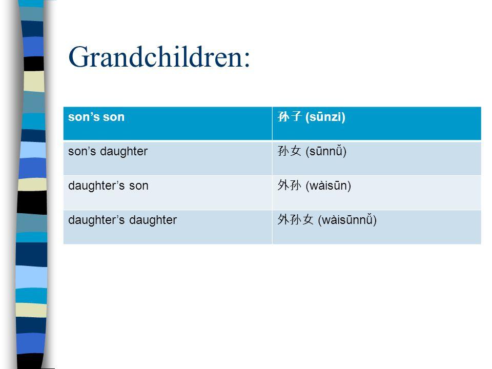 Grandchildren: son's son 孙子 (sūnzi) son's daughter 孙女 (sūnnǚ) daughter's son 外孙 (wàisūn) daughter's daughter 外孙女 (wàisūnnǚ)