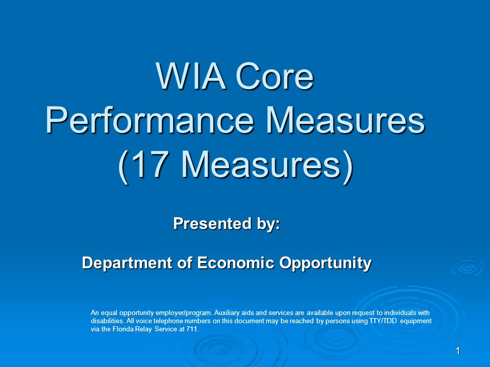 1 WIA Core Performance Measures (17 Measures) Presented by: Department of Economic Opportunity An equal opportunity employer/program.