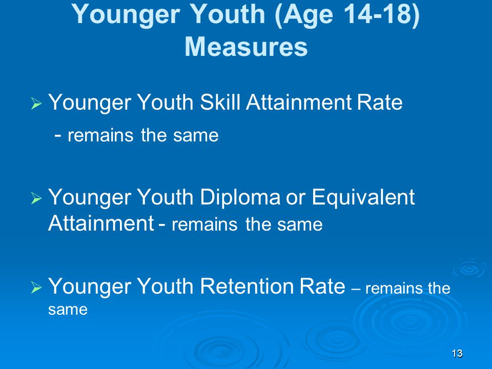 13 Younger Youth (Age 14-18) Measures   Younger Youth Skill Attainment Rate - remains the same   Younger Youth Diploma or Equivalent Attainment -