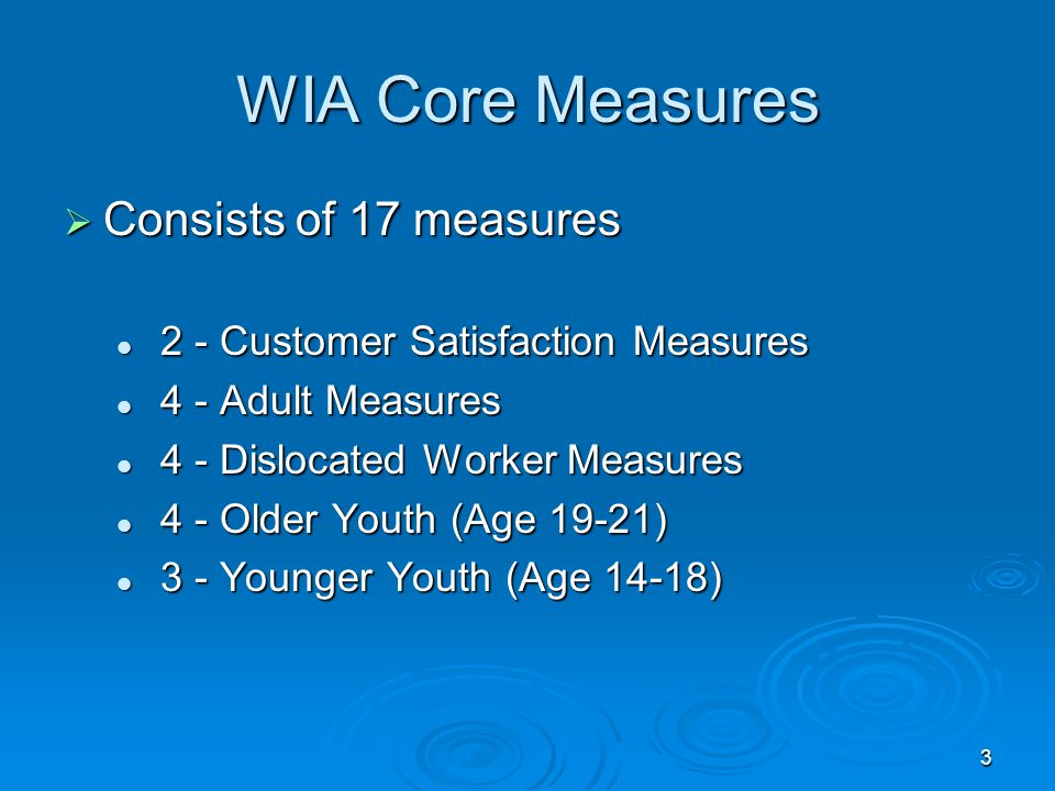 3 WIA Core Measures  Consists of 17 measures 2 - Customer Satisfaction Measures 2 - Customer Satisfaction Measures 4 - Adult Measures 4 - Adult Measu