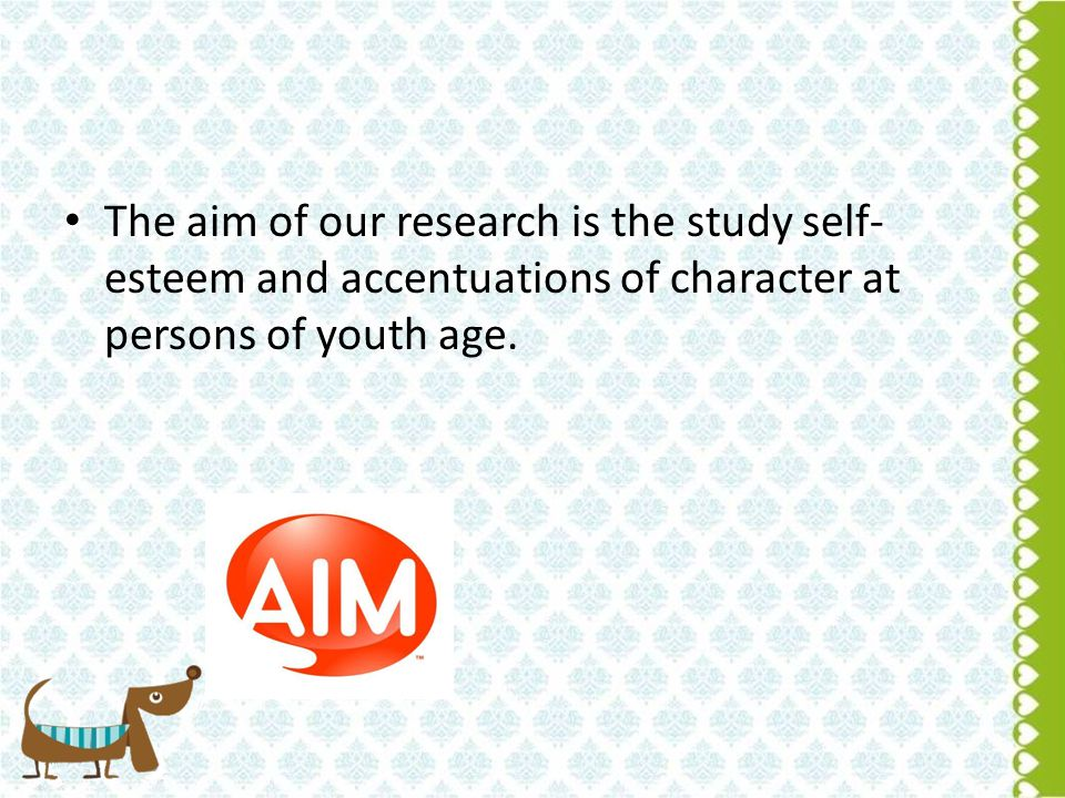 The aim of our research is the study self- esteem and accentuations of character at persons of youth age.