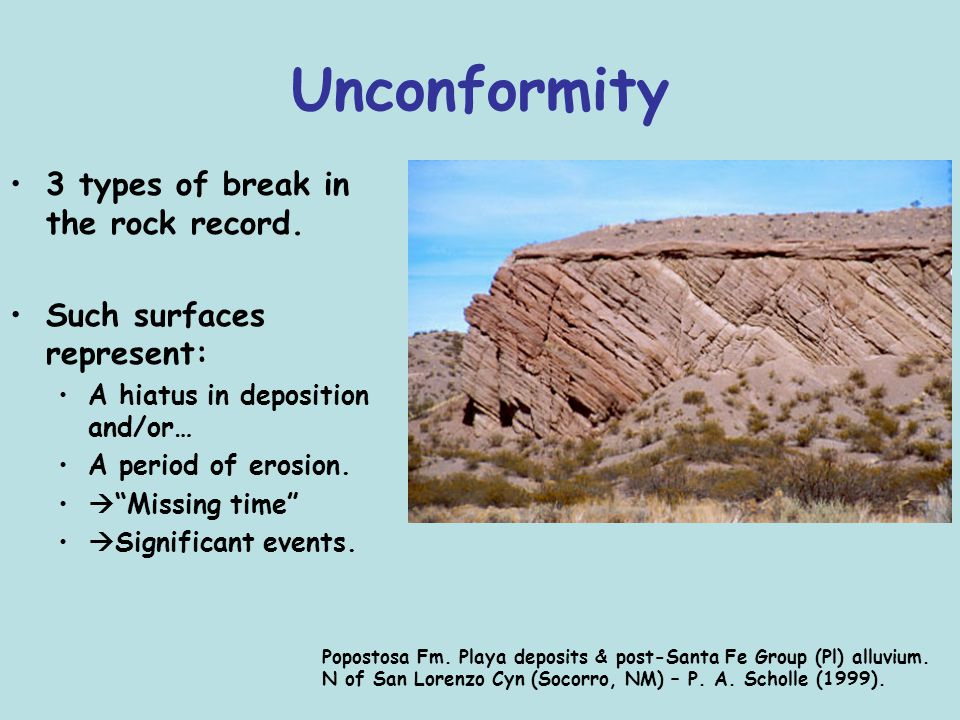 "Unconformity 3 types of break in the rock record. Such surfaces represent: A hiatus in deposition and/or… A period of erosion.  ""Missing time""  Sign"