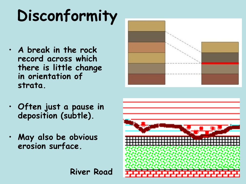 Disconformity A break in the rock record across which there is little change in orientation of strata. Often just a pause in deposition (subtle). May