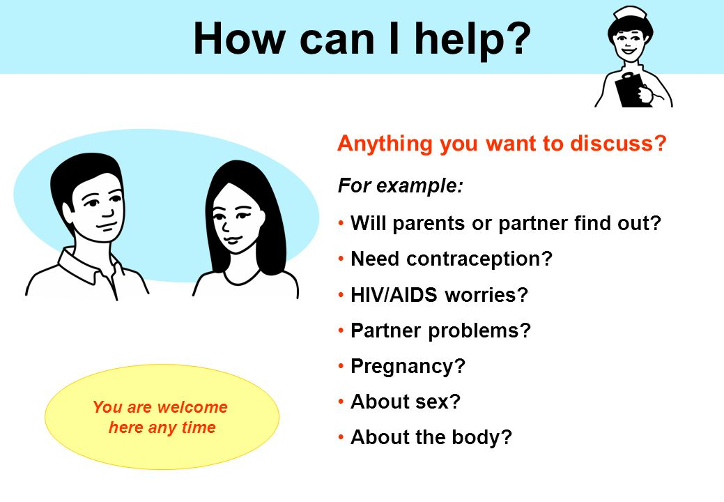 How can I help.Anything you want to discuss. For example: Will parents or partner find out.