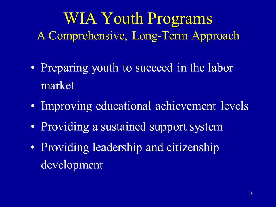 3 WIA Youth Programs WIA Youth Programs A Comprehensive, Long-Term Approach Preparing youth to succeed in the labor market Improving educational achievement levels Providing a sustained support system Providing leadership and citizenship development