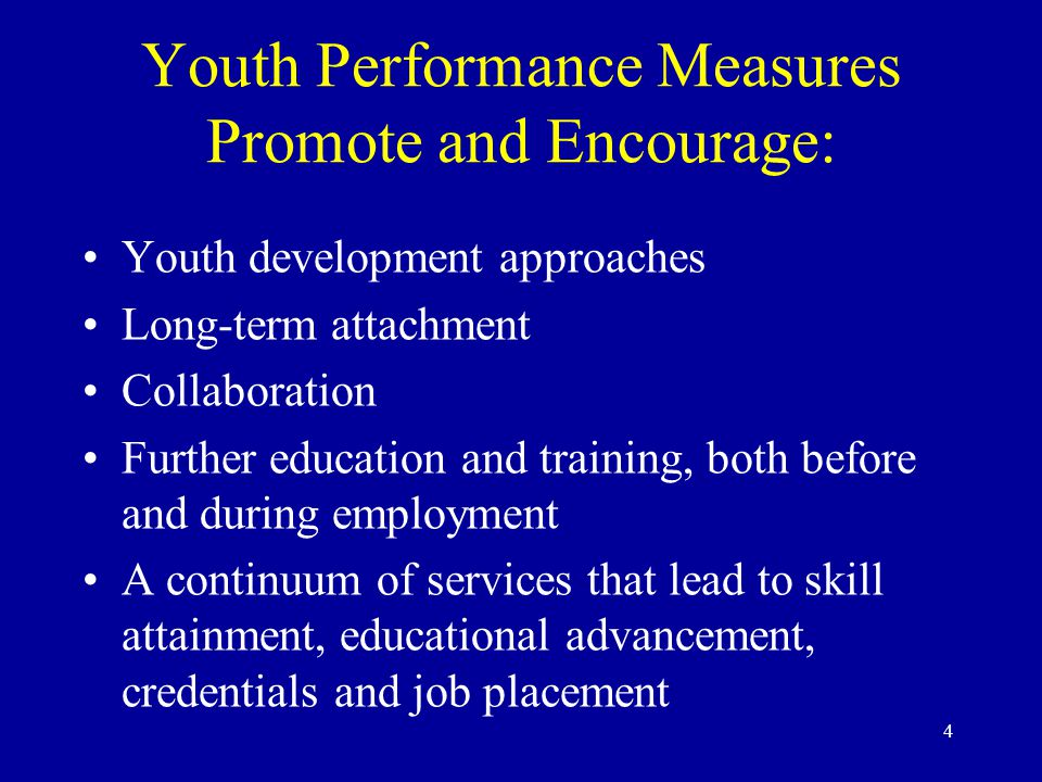 4 Youth Performance Measures Promote and Encourage: Youth development approaches Long-term attachment Collaboration Further education and training, both before and during employment A continuum of services that lead to skill attainment, educational advancement, credentials and job placement
