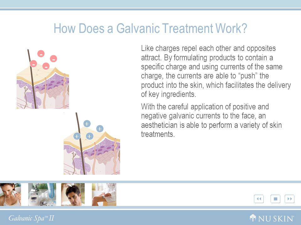 How Does a Galvanic Treatment Work? Like charges repel each other and opposites attract. By formulating products to contain a specific charge and usin