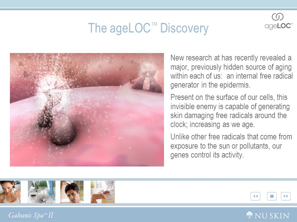 The ageLOC ™ Discovery New research at has recently revealed a major, previously hidden source of aging within each of us: an internal free radical generator in the epidermis.