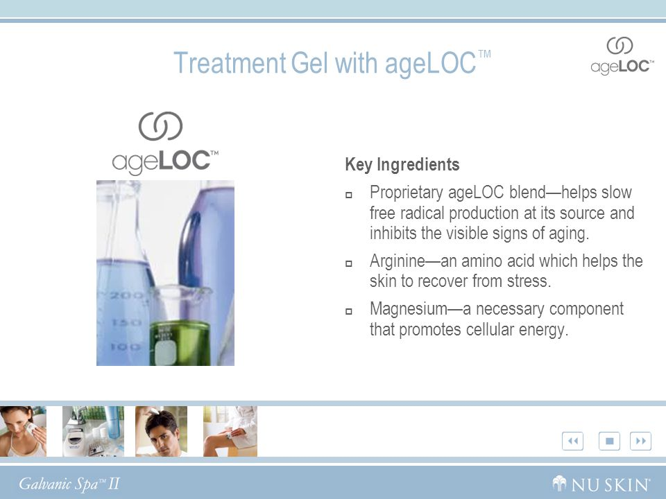 Treatment Gel with ageLOC ™ Key Ingredients  Proprietary ageLOC blend—helps slow free radical production at its source and inhibits the visible signs