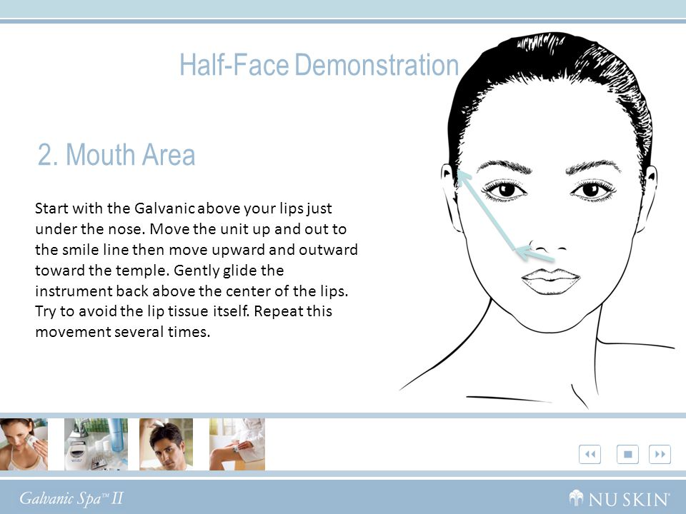 2. Mouth Area Half-Face Demonstration Start with the Galvanic above your lips just under the nose.