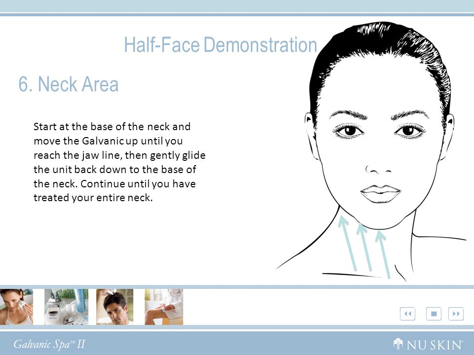6. Neck Area Half-Face Demonstration Start at the base of the neck and move the Galvanic up until you reach the jaw line, then gently glide the unit b