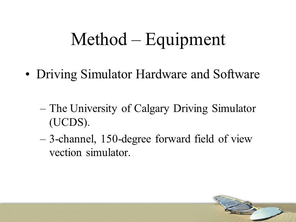 Method – Equipment Driving Simulator Hardware and Software –The University of Calgary Driving Simulator (UCDS).