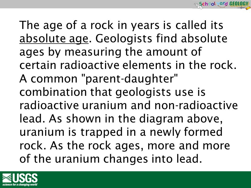The age of a rock in years is called its absolute age.