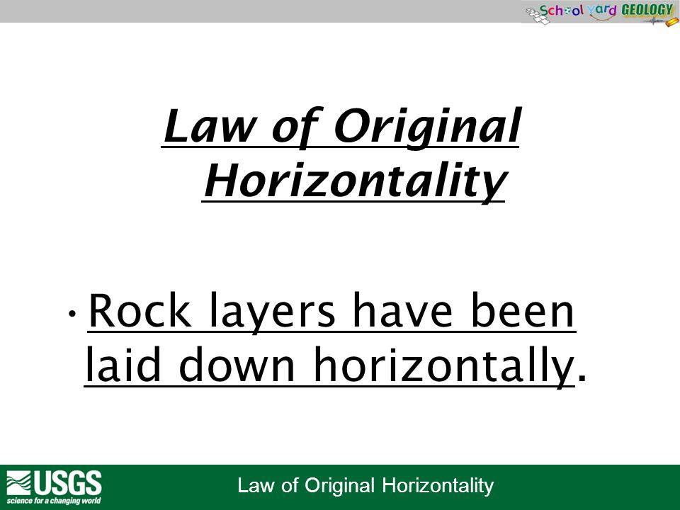Law of Original Horizontality Rock layers have been laid down horizontally.