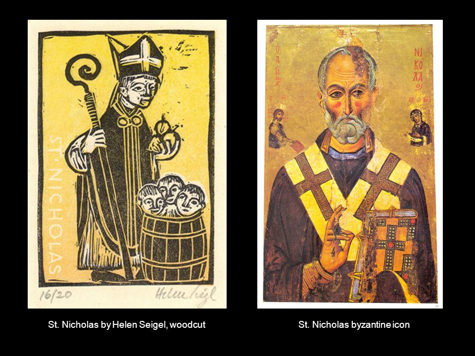 St. Nicholas by Helen Seigel, woodcutSt. Nicholas byzantine icon