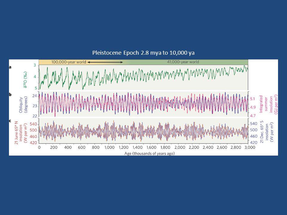Pleistocene Epoch 2.8 mya to 10,000 ya