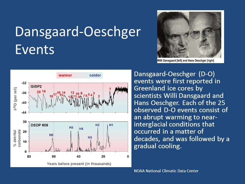 Dansgaard-Oeschger Events Dansgaard-Oeschger (D-O) events were first reported in Greenland ice cores by scientists Willi Dansgaard and Hans Oeschger.
