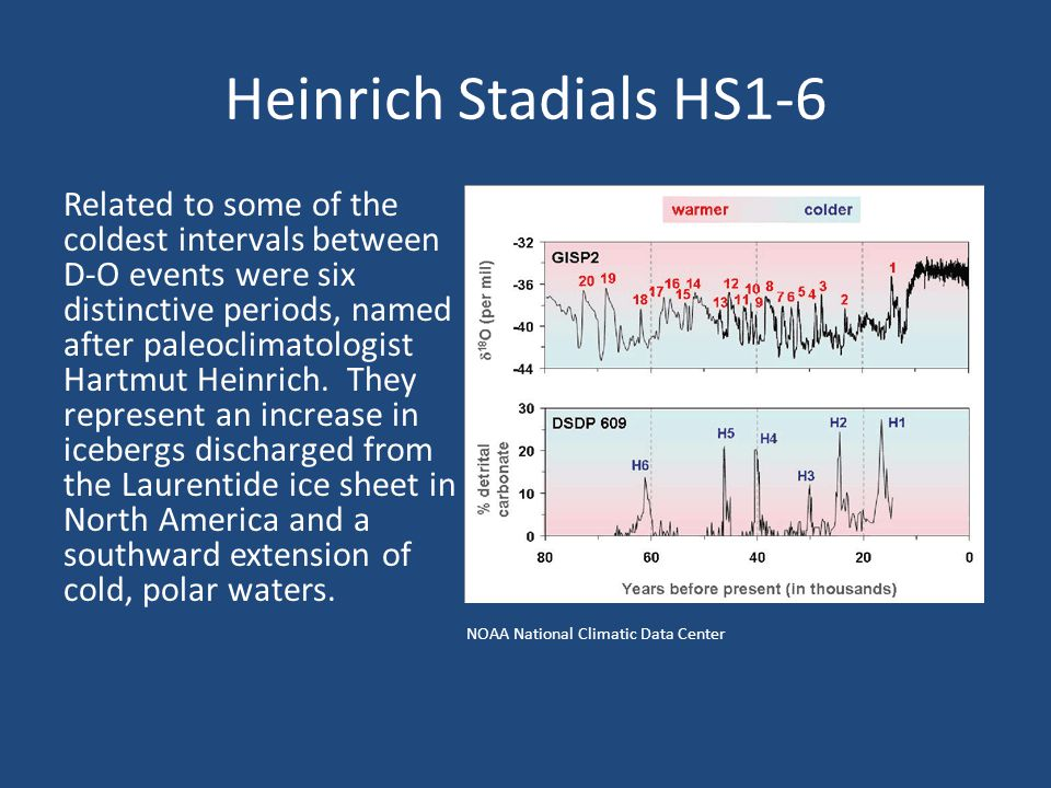 Heinrich Stadials HS1-6 Related to some of the coldest intervals between D-O events were six distinctive periods, named after paleoclimatologist Hartmut Heinrich.