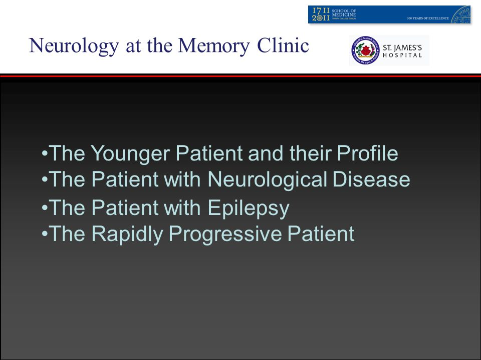 Neurology at the Memory Clinic The Patient with Neurological Disease -MS Recent memory - information processing, speed, sustained attention Lesions correlate to defects; frontal lesions - executive etc Learning and memory are most common impairments