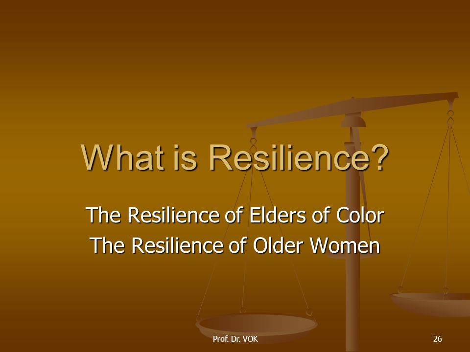 Prof. Dr. VOK26 What is Resilience? The Resilience of Elders of Color The Resilience of Older Women