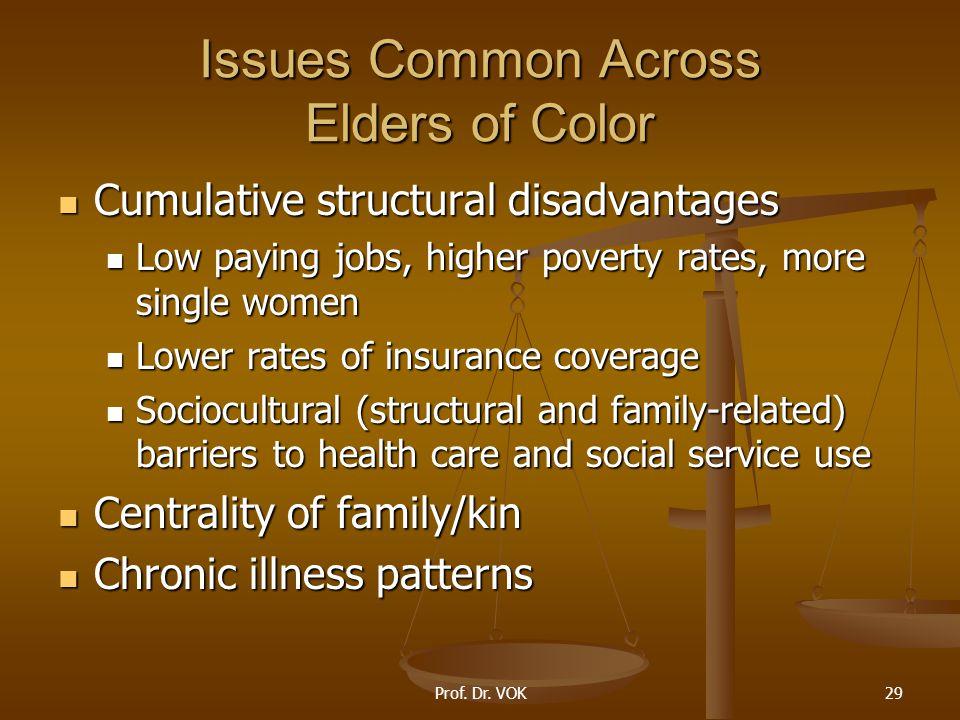 Prof. Dr. VOK29 Issues Common Across Elders of Color Cumulative structural disadvantages Cumulative structural disadvantages Low paying jobs, higher p