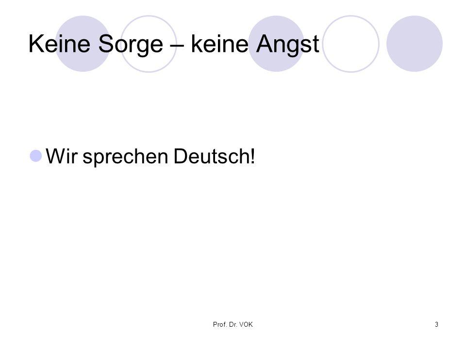 Prof. Dr. VOK3 Keine Sorge – keine Angst Wir sprechen Deutsch!