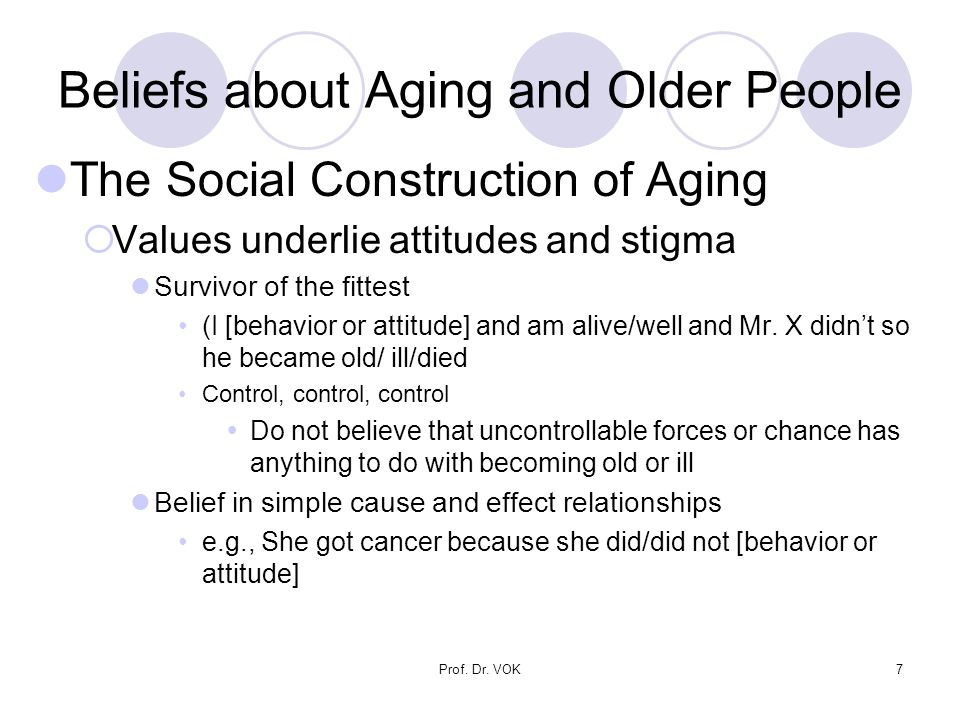 Prof. Dr. VOK7 Beliefs about Aging and Older People The Social Construction of Aging  Values underlie attitudes and stigma Survivor of the fittest (I