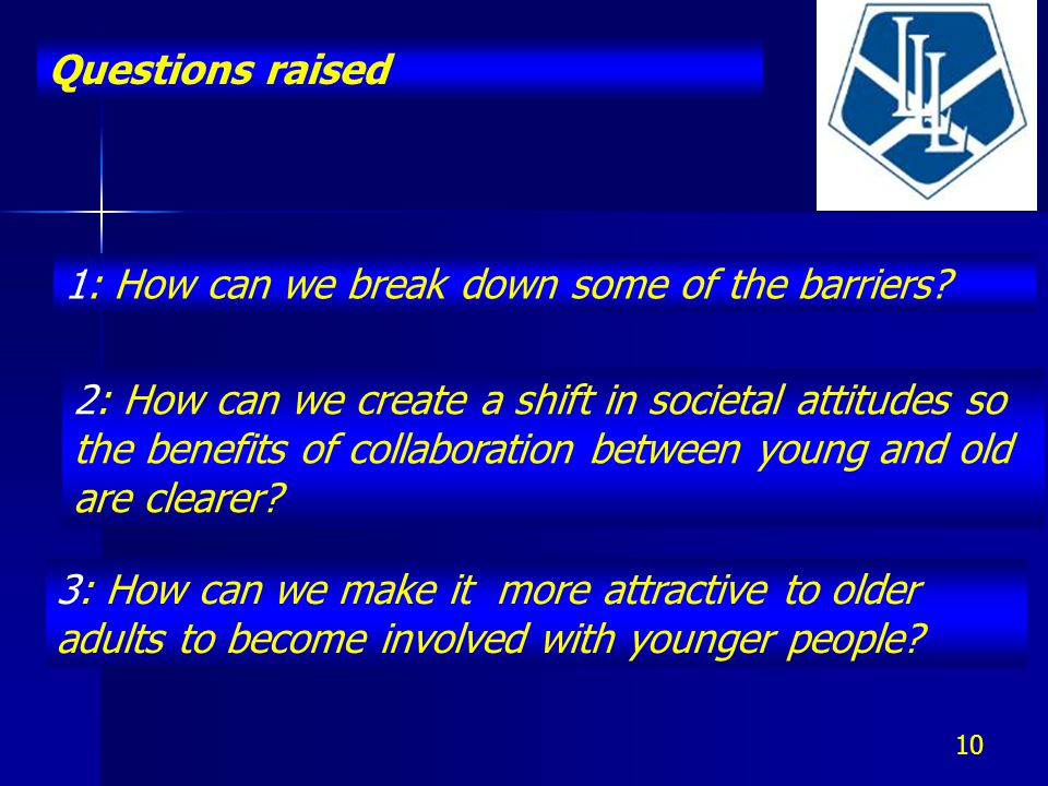 Questions raised 10 1: How can we break down some of the barriers.