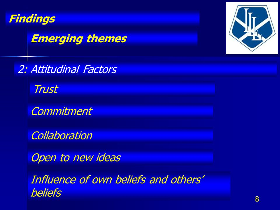 Emerging themes Findings 8 2: Attitudinal Factors Trust Commitment Collaboration Open to new ideas Influence of own beliefs and others' beliefs
