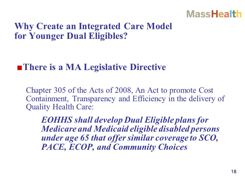 16 Why Create an Integrated Care Model for Younger Dual Eligibles.
