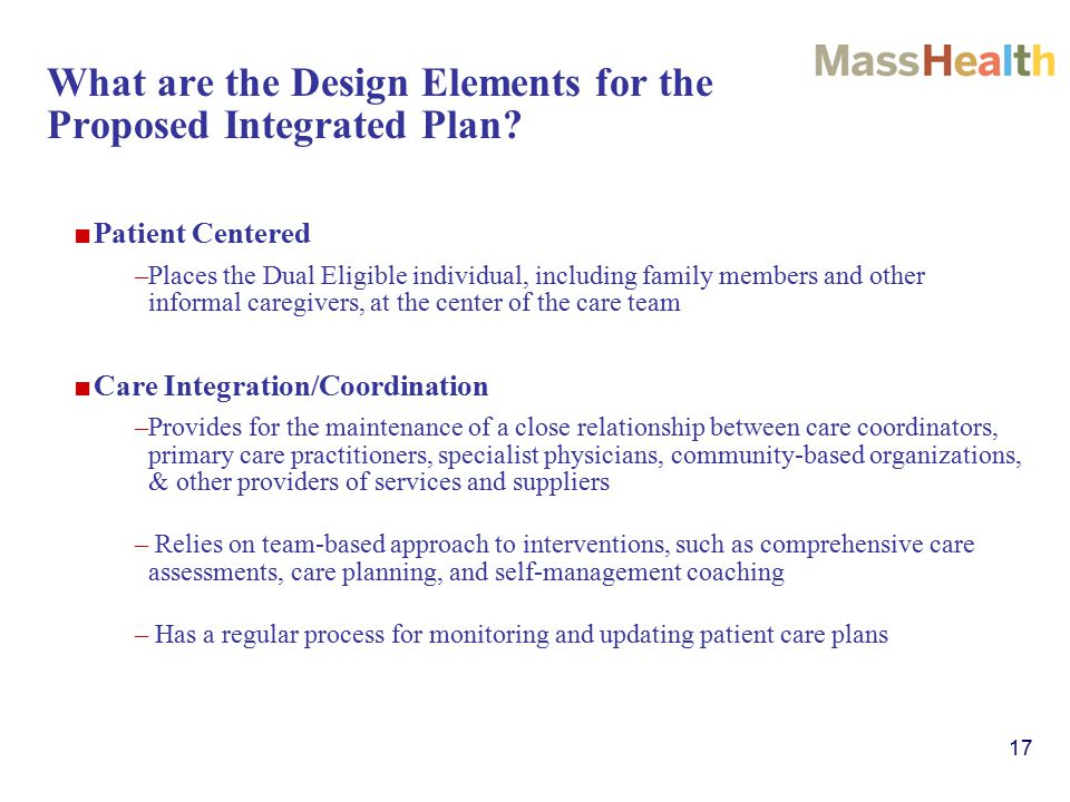 17 What are the Design Elements for the Proposed Integrated Plan.