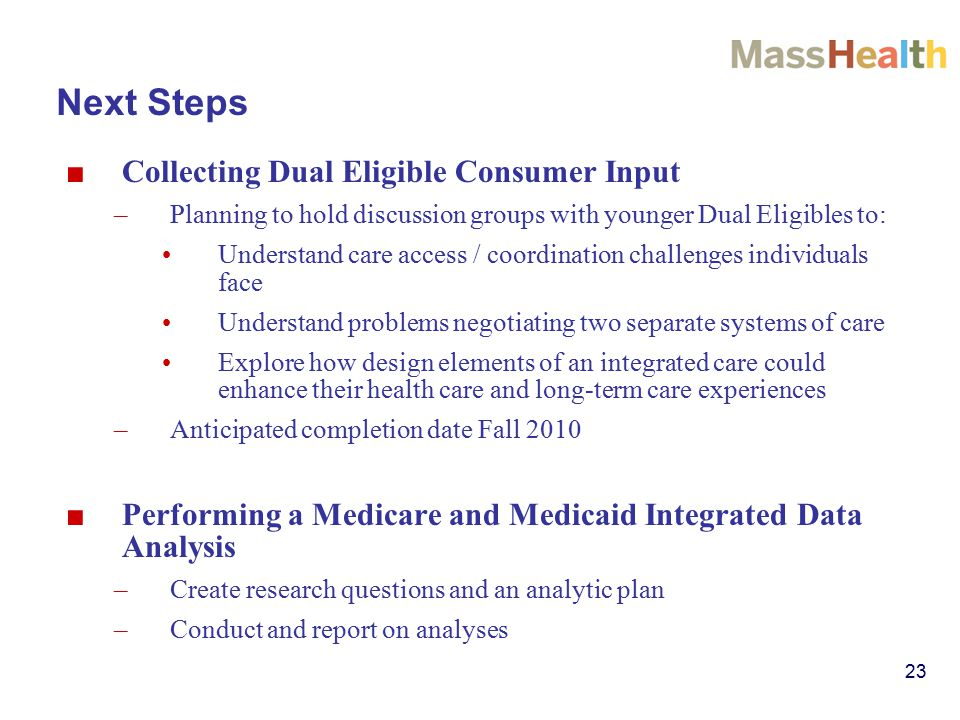 23 Next Steps ■ Collecting Dual Eligible Consumer Input –Planning to hold discussion groups with younger Dual Eligibles to: Understand care access / coordination challenges individuals face Understand problems negotiating two separate systems of care Explore how design elements of an integrated care could enhance their health care and long-term care experiences –Anticipated completion date Fall 2010 ■ Performing a Medicare and Medicaid Integrated Data Analysis –Create research questions and an analytic plan –Conduct and report on analyses